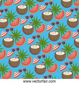 coconut beverage with sunglasses and watermelon with leaves plants background