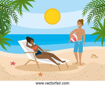 woman taking sun in the tanning chair and man with bach ball