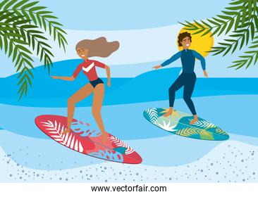 woman and man surfing in the surfboards with leaves plants