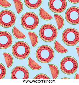 watermelon float over blue background