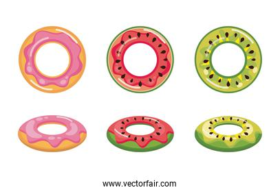 donut , watermelon and pineapple float set