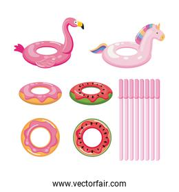 float set wirh donut, fruits and animals