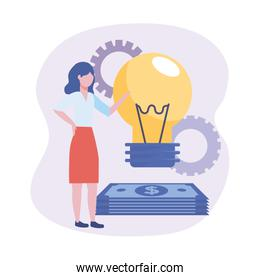 businesswomen with bulb idea and bills with gears