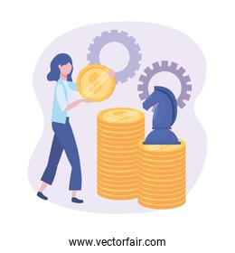 businesswoman with coins and horse chess with gears
