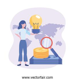 businesswoman with bulb idea and coins and bills