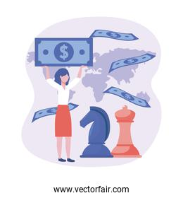 businesswoman with horse and queen chess with bills
