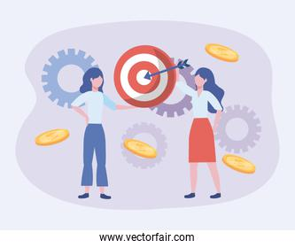 businesswomen and target with arrow and coins with gears