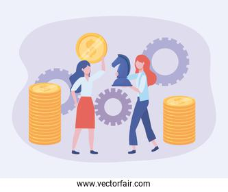 businesswomen with coins and horse chess with gears
