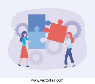 businesswomen with puzzles and gears technology information