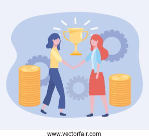businesswomen with cup prize and coins with gears
