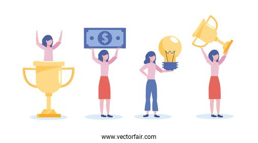 set of businesswomen with cup prize and bill with bulb idea