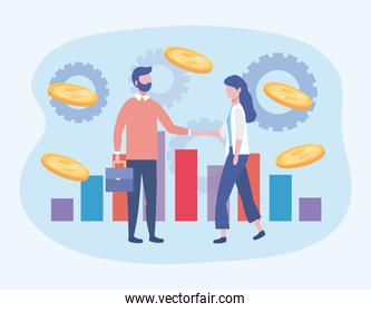 businessman and businesswoman with statistics bar and coins