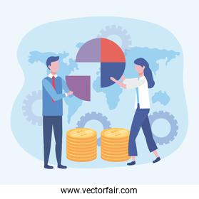 businessman and businesswoman with diagram and coins with gears
