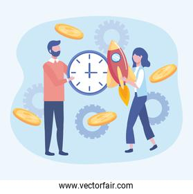 businessman and businesswoman with clock and rocket with coins