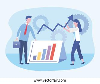 businessman and businesswoman with statistics bar and gears