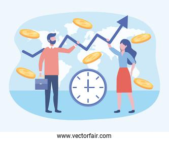 businesswoman and businessman with clock and coins with suitcase