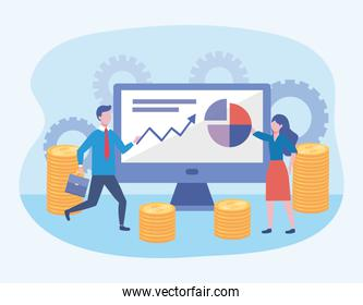 businessman and businesswoman with computer and diagram information