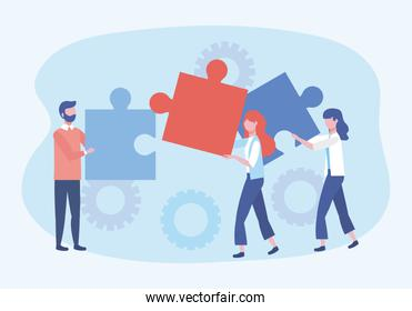 businessman and businesswomen with puzzles and gears connection