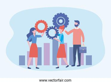 businesswomen and businessman with gears and statistics bar