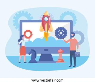 businessman and businesswoman with computer and gears with rocket