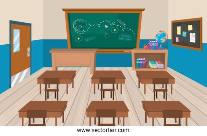 education classroom with desks and books with blackboard