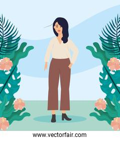 girl with blouse and plants casual clothes with hairstyle