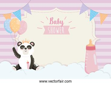 card of cute panda with feeding bottle and balloons