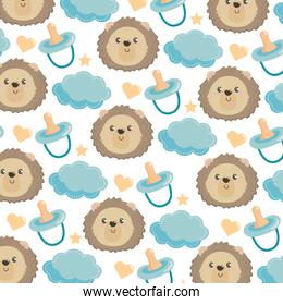 cute lion head with diaper and cloud background