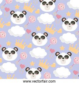 cute panda head with rattle and crown background