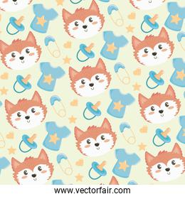 cute fox head with short and pacifier background