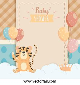 card of tiger animal with balloons decoration and clouds
