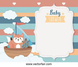 card of cute fox in the ship and clouds