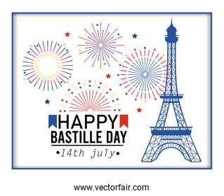poster of eiffel tower with fireworks celebration