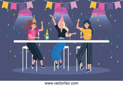 cute women with champagne and party banner
