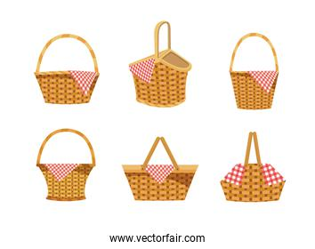 set of hamper with food and tablecloth decoration