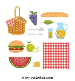 set of hamper with tablecloth and food snack