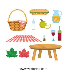 set of hamper with tablecloth and table with food