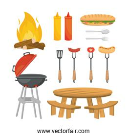 set of picnic relaxation with food and grilled snack