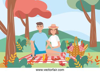 man and woman in the tablecloth with wine and milk bottle