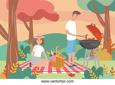 man in the grilled sausages and woman with food