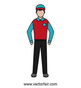 man delivery courier service with uniform