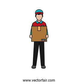 man delivery courier with box service