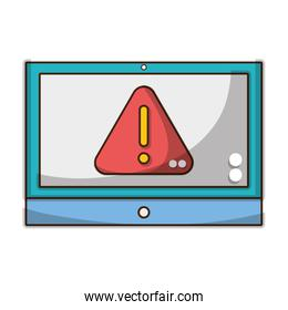 attencion and caution symbol inside screen technology