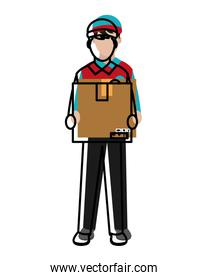 moved color man delivery courier with box service