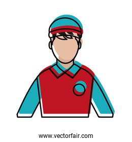 moved color man delivery courier wth hat and t-shirt uniform
