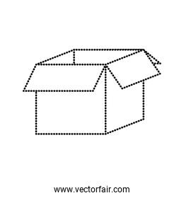 dotted shape open box package object delivery