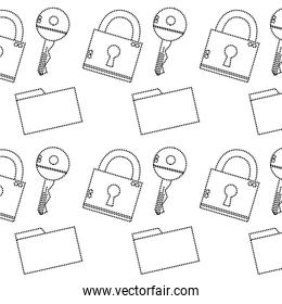 dotted shape close padlock security and file folder background