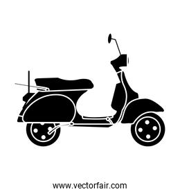 silhouette motocycle transportation travel with mirror and wheels