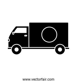 silhouette truck transportation delivery service vehicle
