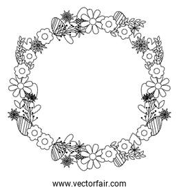 dotted shape circle beautiful flowers petals design